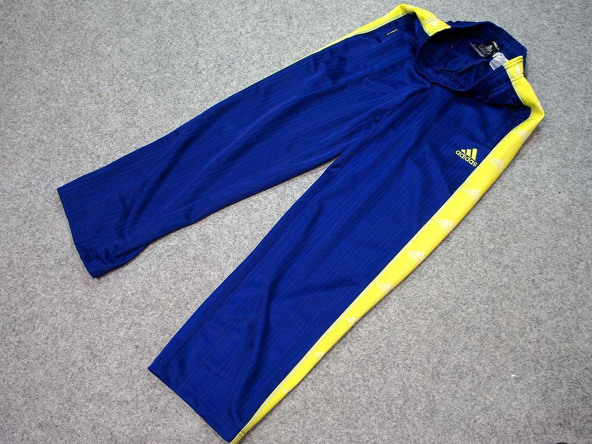 アディダス adidas - サッカー フットサル USED美品 ボトムス ジャージ - SIZE:150 カラー:青系 高機能高デザイン_画像1