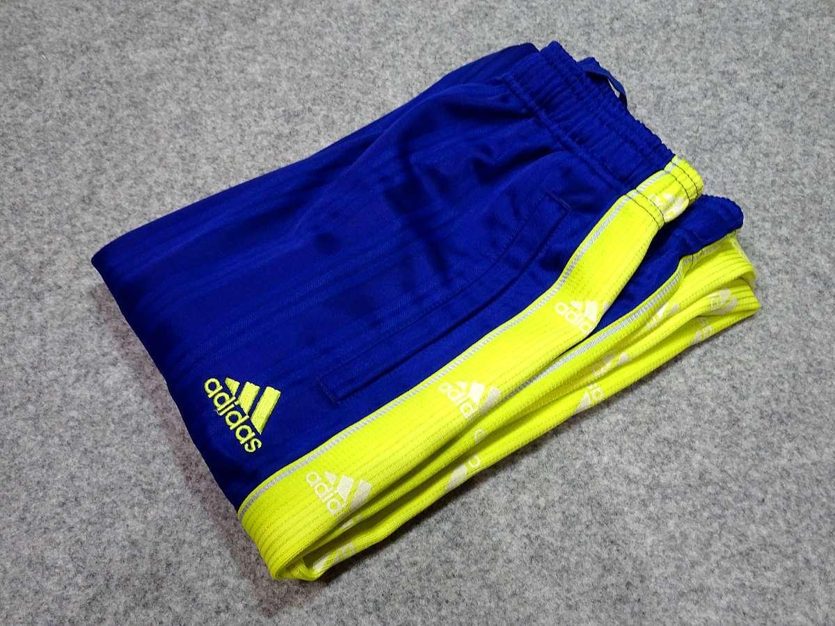 アディダス adidas - サッカー フットサル USED美品 ボトムス ジャージ - SIZE:150 カラー:青系 高機能高デザイン_画像8