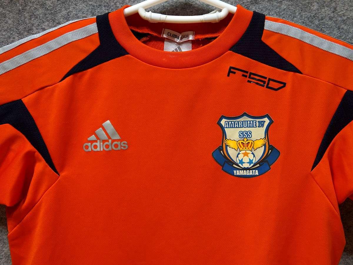 アディダス adidas - サッカー フットサル USED美品 半袖 ユニフォーム 練習着 SIZE:150 カラー:オレンジ系 かっこいい!_画像2