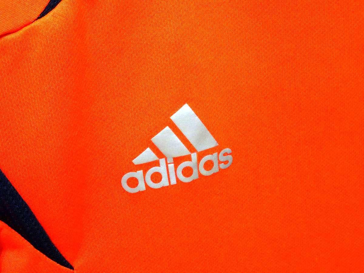 アディダス adidas - サッカー フットサル USED美品 半袖 ユニフォーム 練習着 SIZE:150 カラー:オレンジ系 かっこいい!_画像6
