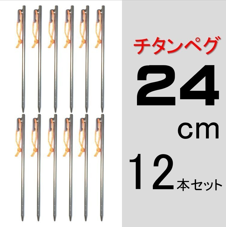 【送料無料】チタンペグ 24cm 12本セット