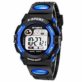 ブルー1 子供腕時計防水 デジタル表示 ledライト付き アラーム ストップウォッチ機能 12/24時刻切替え多機能スポーツ腕時_画像1