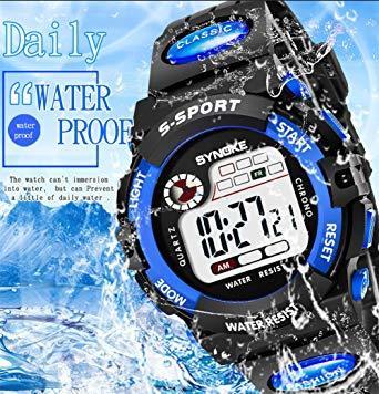 ブルー1 子供腕時計防水 デジタル表示 ledライト付き アラーム ストップウォッチ機能 12/24時刻切替え多機能スポーツ腕時_画像6