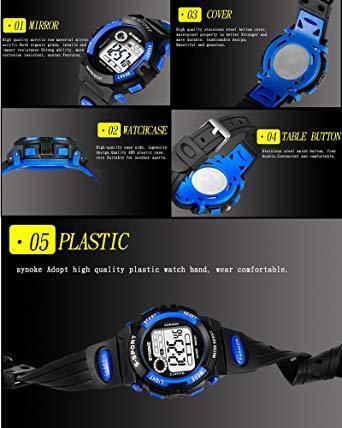 ブルー1 子供腕時計防水 デジタル表示 ledライト付き アラーム ストップウォッチ機能 12/24時刻切替え多機能スポーツ腕時_画像5