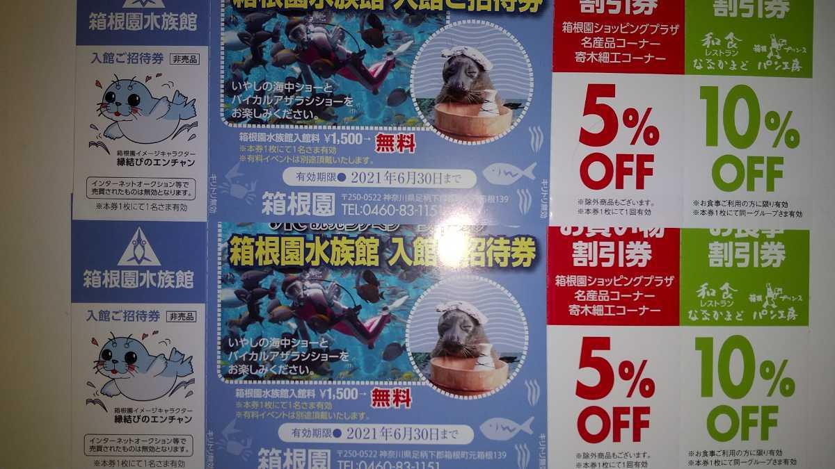 箱根園水族館 入館ご招待券ペア 有効期限 2021年6月30日まで_画像1