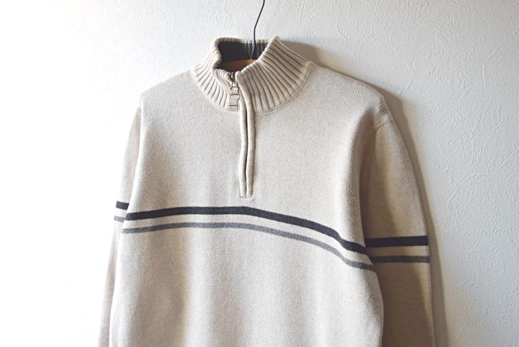 【送料無料】エディーバウアー ハーフジップ セーター アウトドア コットンニット メンズM Eddie Bauer CH0445