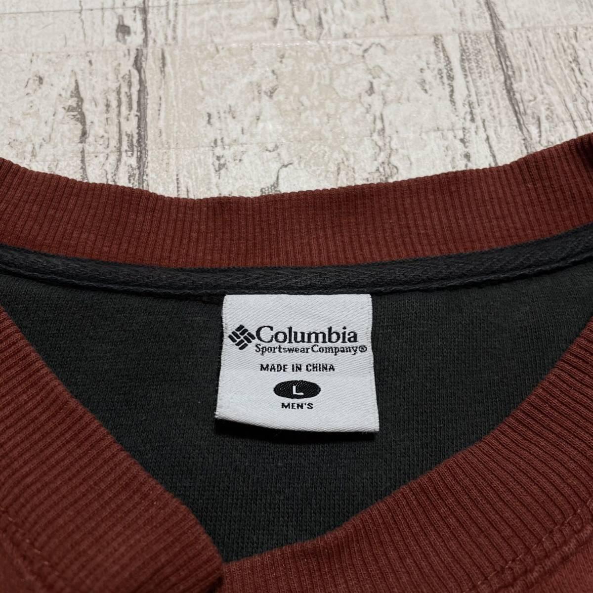 Columbia コロンビア スウェットトレーナー Lサイズ ライトブラウン 刺繍ロゴ ビッグサイズ