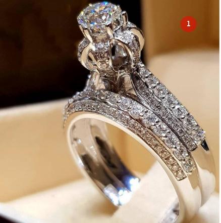[P833]トレンディクリスタルリングセット結婚指輪女性ラグジュアリーホワイリングジュエリー_画像2