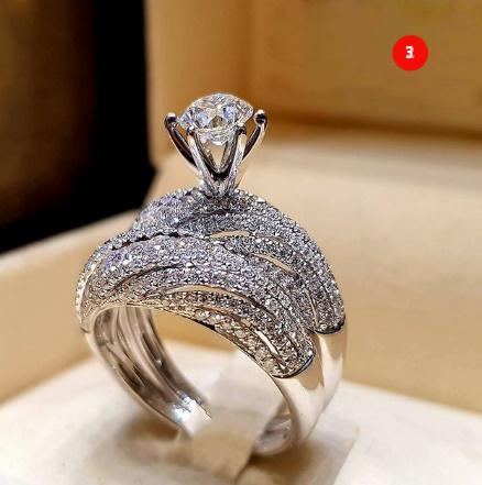 [P833]トレンディクリスタルリングセット結婚指輪女性ラグジュアリーホワイリングジュエリー_画像4