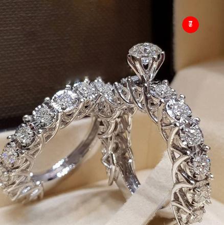 [P833]トレンディクリスタルリングセット結婚指輪女性ラグジュアリーホワイリングジュエリー_画像8