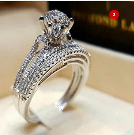 [P833]トレンディクリスタルリングセット結婚指輪女性ラグジュアリーホワイリングジュエリー_画像3