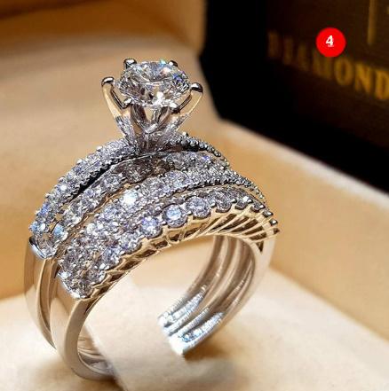 [P833]トレンディクリスタルリングセット結婚指輪女性ラグジュアリーホワイリングジュエリー_画像5