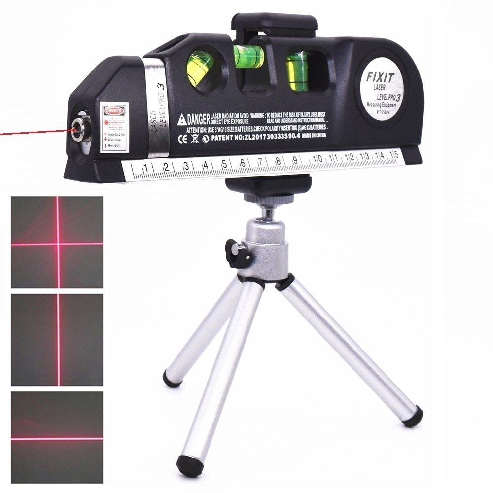 レーザー 高精度 墨出し器 光学測定器 水平レーザー墨出し器テープ調節可能多機能標準定規クロスライン測定器三脚_画像1