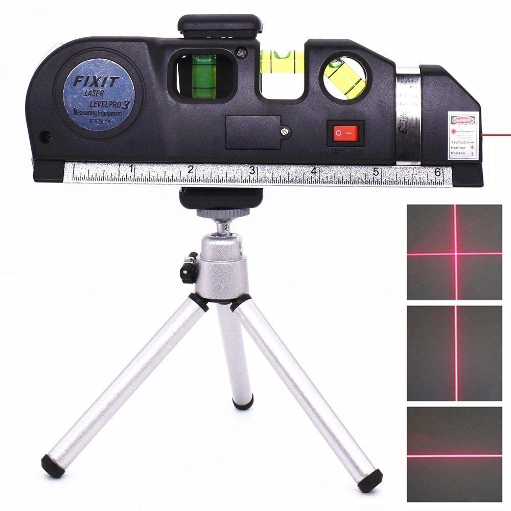 墨出し器 レーザー 高精度 光学測定器 レーザー墨出し器メジャーテープ水平レーザー調整多機能標準定規クロスライン三脚_画像1