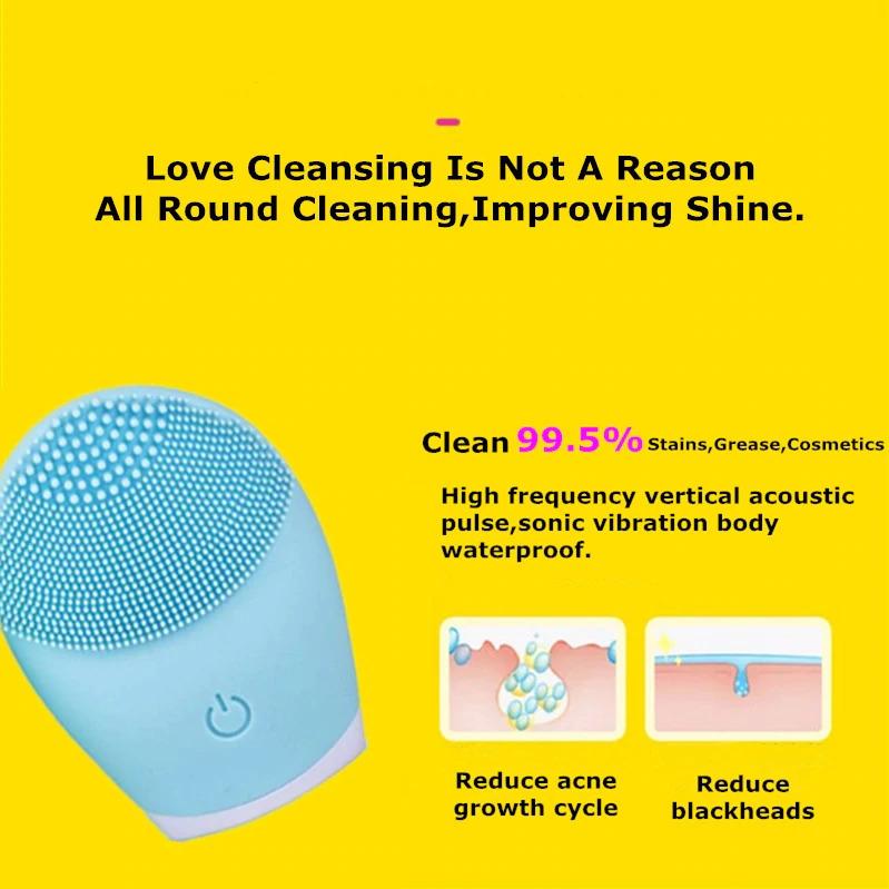 毛穴 超音波 ピーリング 美顔器 洗顔ブラシ洗顔ブラシ電動美顔器シリコーンブラシクリーナーソニック振動ディープポアクリーニング_画像4