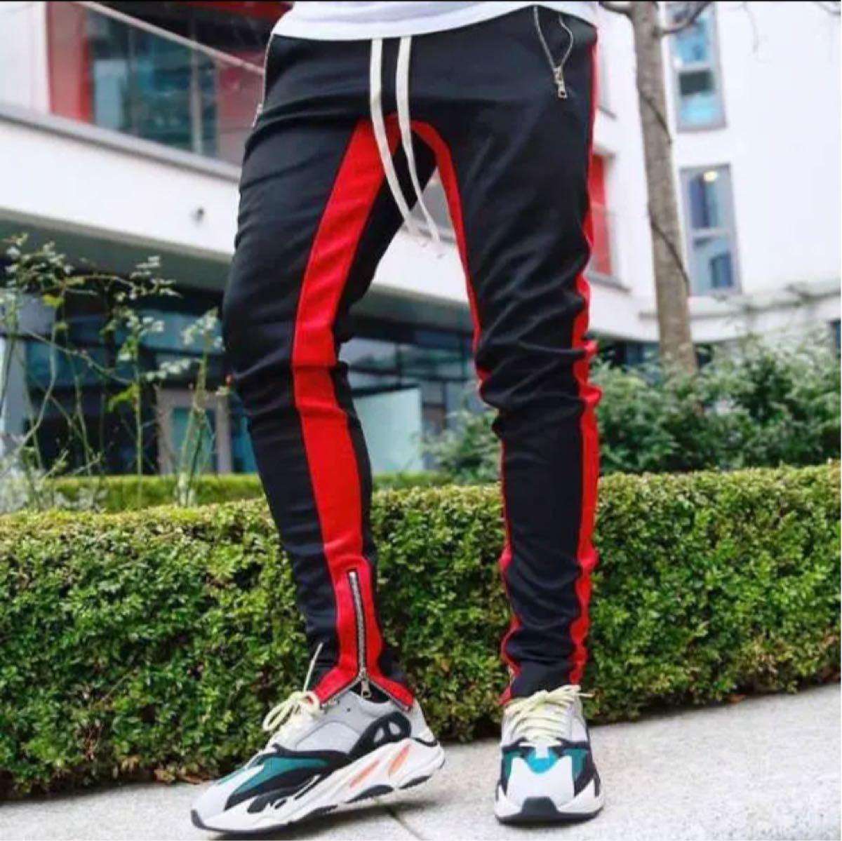 ラインパンツ ジョガーパンツ メンズ スウェット 黒 ブラック 赤 レッド M  PANTS スウェットパンツ NIKE