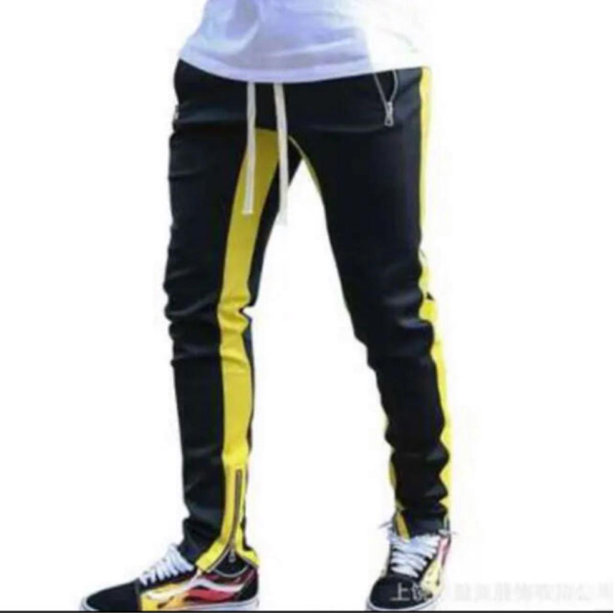 ラインパンツ ジョガーパンツ メンズ スウェット 黒 ブラック 黄 イエローL  NIKE  スウェットパンツ