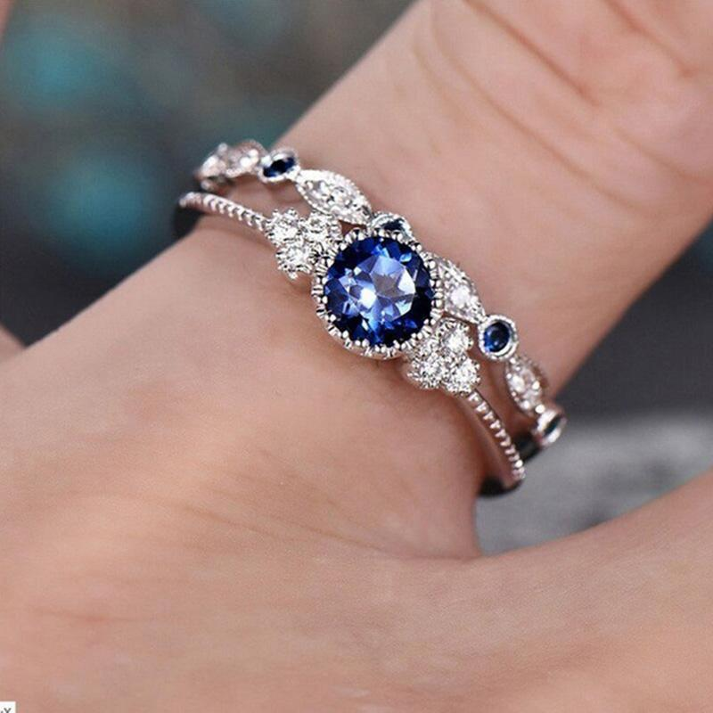 Wergarsti 925シルバージュエリースパークリングパーフェクトブルーラウンドカットジルコン石リング女性パーティー婚約結婚指輪ギフト_画像6