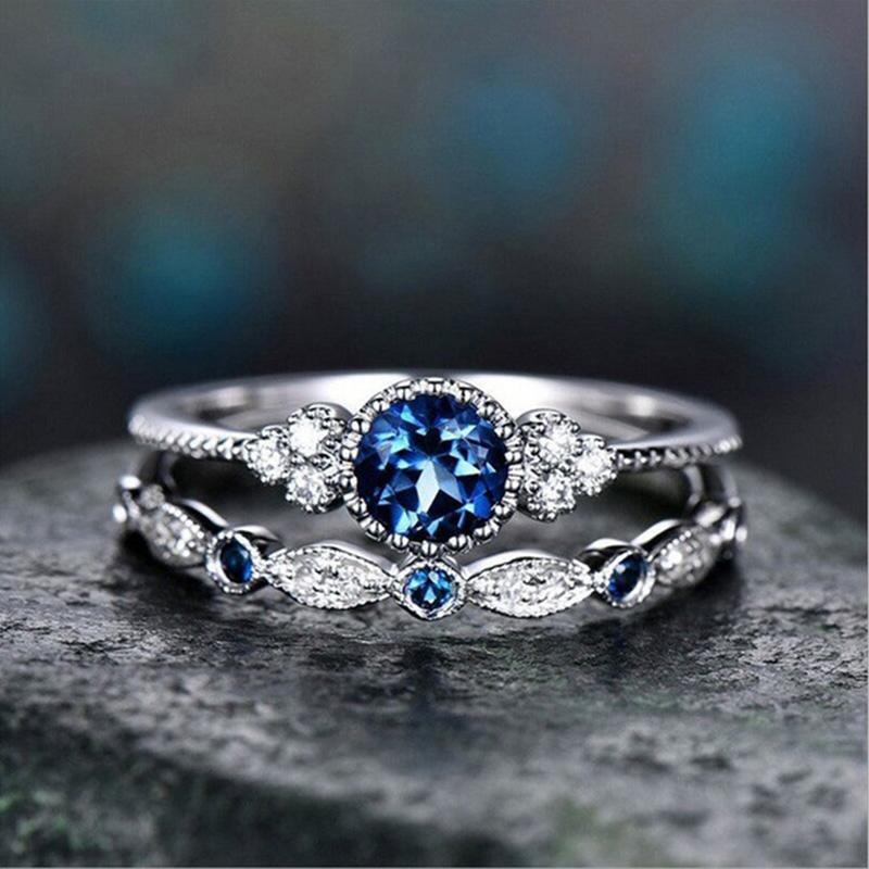 Wergarsti 925シルバージュエリースパークリングパーフェクトブルーラウンドカットジルコン石リング女性パーティー婚約結婚指輪ギフト_画像4