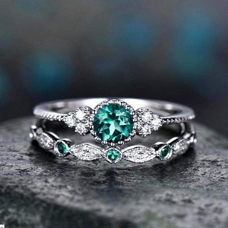 Wergarsti 925シルバージュエリースパークリングパーフェクトブルーラウンドカットジルコン石リング女性パーティー婚約結婚指輪ギフト_画像3