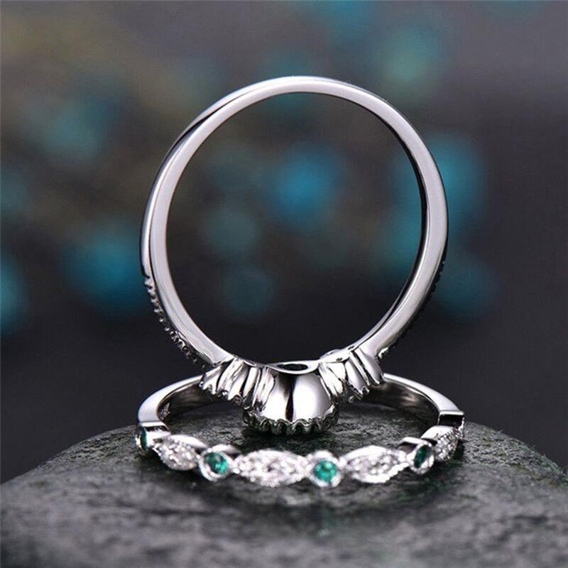 Wergarsti 925シルバージュエリースパークリングパーフェクトブルーラウンドカットジルコン石リング女性パーティー婚約結婚指輪ギフト_画像2