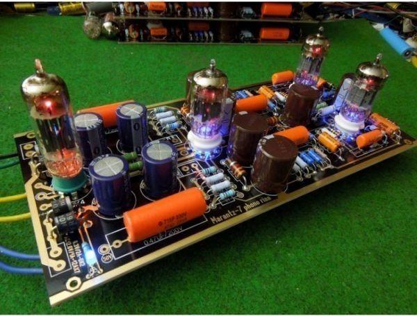 ■ハイエンドM7真空管フォノRIAA LPターンテーブルプリアンプのHiFiステレオマランツ7プリアンプ(チューブなし)ボードを組み立て_画像1