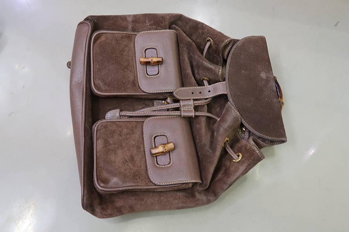 ♪♪ GUCCI Рюкзак Gucci кожаный коричневый рюкзак Bamboo 003-2058-0016 ♪♪ Gucci и сумка, сумка и линия бамбука