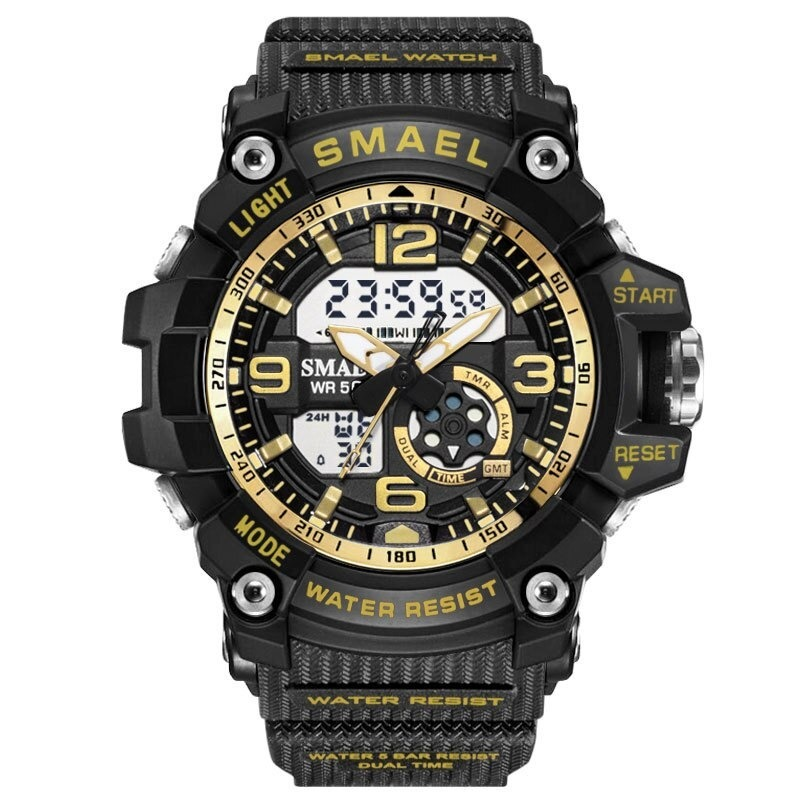 X116:全11カラー ファッション レディース スポーツウォッチ 防水 学生 多機能 腕時計 LEDデジタル クォーツ ガールクロック ギフト_ブラックゴールデン