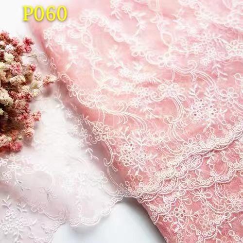 P060 チュールレース ピンク 花刺繍 レース生地