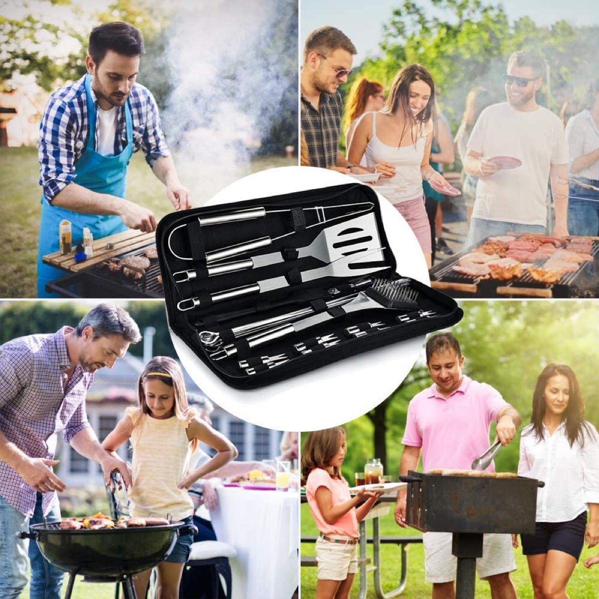 バーベキュー 調理器具 BBQ セット クッキングツール キャンプ用品 22点セット料理器具 バーベキュー用串 バーベキューブラシ