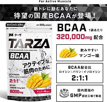 500g TARZA(ターザ) BCAA 8000mg アミノ酸 クエン酸 パウダー マンゴー風味 国産 500g_画像2