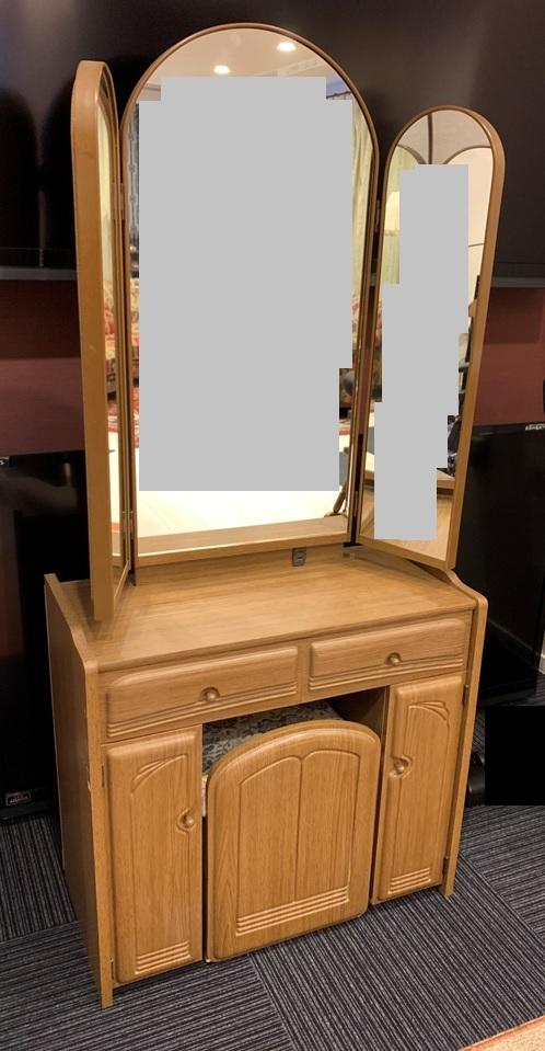 木製 三面鏡 ドレッサー スツール コンセント付 家具 鏡台 メイク台 寝室 収納 昭和 レトロ _画像1