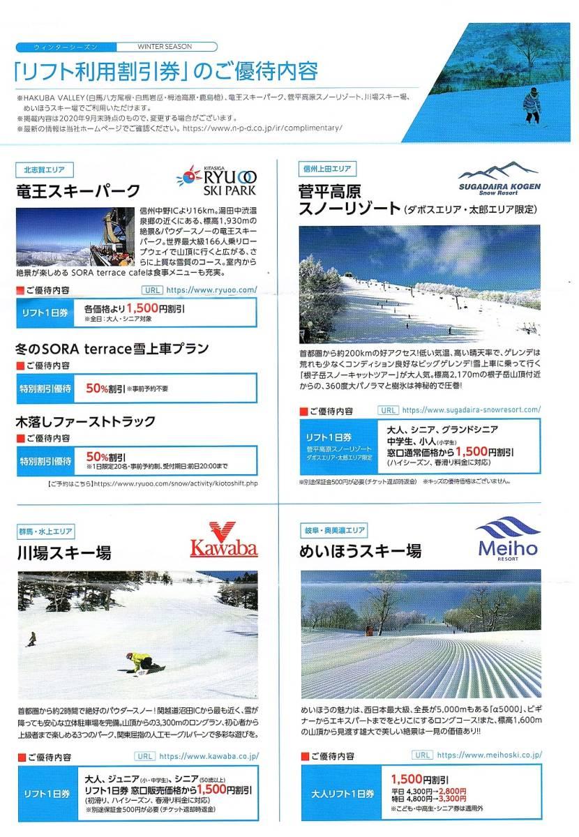 日本駐車場開発 株主優待券 スキー場リフト割引券+レンタル割引券 各1枚set ~9組迄 2021年シーズン有効 _画像4