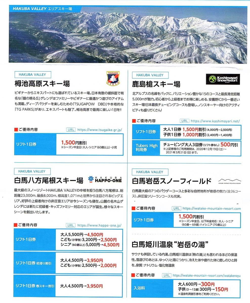 日本駐車場開発 株主優待券 スキー場リフト割引券+レンタル割引券 各1枚set ~9組迄 2021年シーズン有効 _画像5