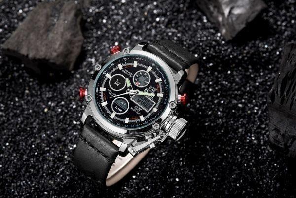 2019 Oulm ビッグサイズ軍事デュアルタイムデジタル腕時計メンズカレンダーアラーム多機能防水メンズ腕時計トップブランド高級_画像2