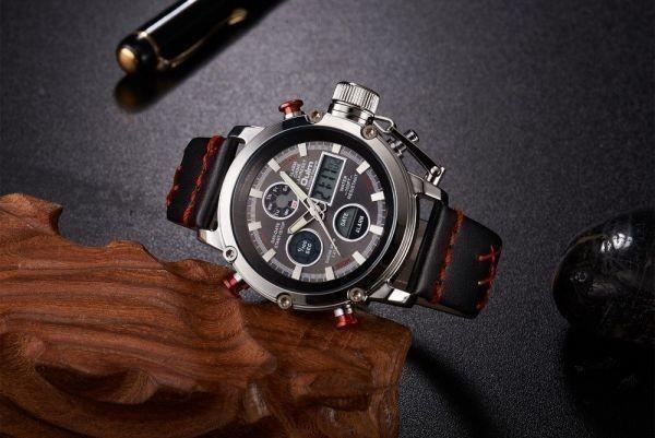 2019 Oulm ビッグサイズ軍事デュアルタイムデジタル腕時計メンズカレンダーアラーム多機能防水メンズ腕時計トップブランド高級_画像3