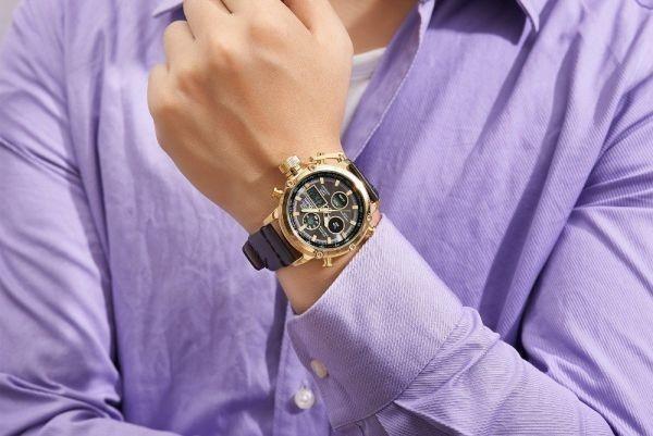 2019 Oulm ビッグサイズ軍事デュアルタイムデジタル腕時計メンズカレンダーアラーム多機能防水メンズ腕時計トップブランド高級_画像6