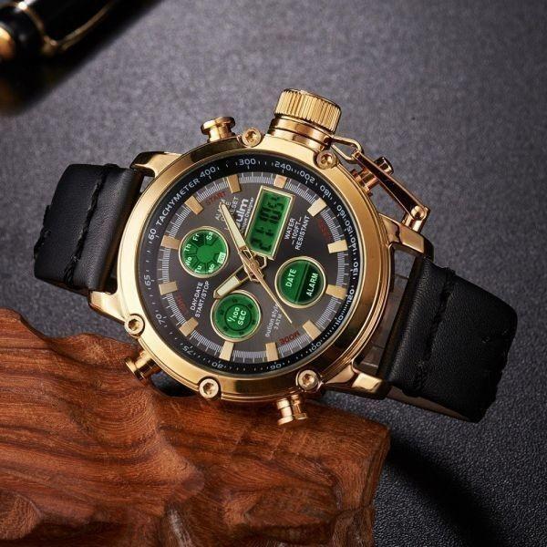 2019 Oulm ビッグサイズ軍事デュアルタイムデジタル腕時計メンズカレンダーアラーム多機能防水メンズ腕時計トップブランド高級_画像1