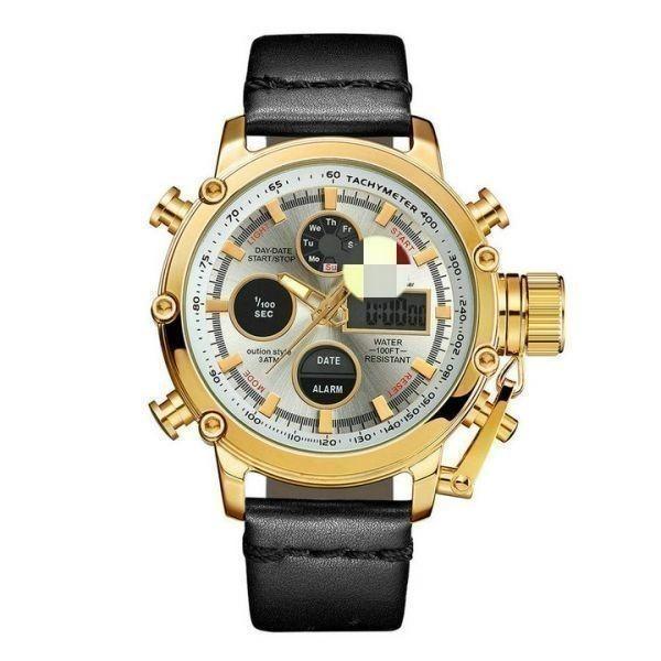 2019 Oulm ビッグサイズ軍事デュアルタイムデジタル腕時計メンズカレンダーアラーム多機能防水メンズ腕時計トップブランド高級_GOLD_SILVER