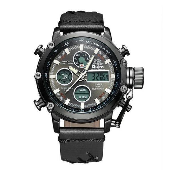 2019 Oulm ビッグサイズ軍事デュアルタイムデジタル腕時計メンズカレンダーアラーム多機能防水メンズ腕時計トップブランド高級_ALL_BLACK