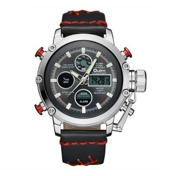 2019 Oulm ビッグサイズ軍事デュアルタイムデジタル腕時計メンズカレンダーアラーム多機能防水メンズ腕時計トップブランド高級_RED_SILVER_BLACK