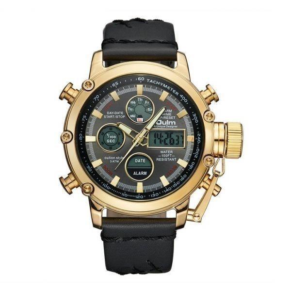 2019 Oulm ビッグサイズ軍事デュアルタイムデジタル腕時計メンズカレンダーアラーム多機能防水メンズ腕時計トップブランド高級_GOLD_BLACK