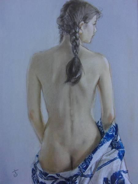 高塚省吾、【浴衣】、希少な額装用画集より、美品、新品額装付、送料込み、美人、裸婦_画像1