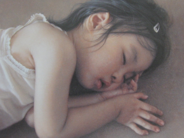 島村信之、【寝息】、希少な額装用画集より、美品、新品額装付、送料込み、美人_画像1