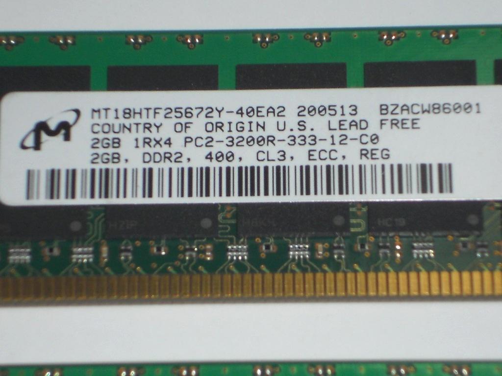 HP サーバー用メモリ― Micron DDR2 PC2-3200R 2GB×2枚 ECC 計4GBセット 中古 動作未確認!_画像2