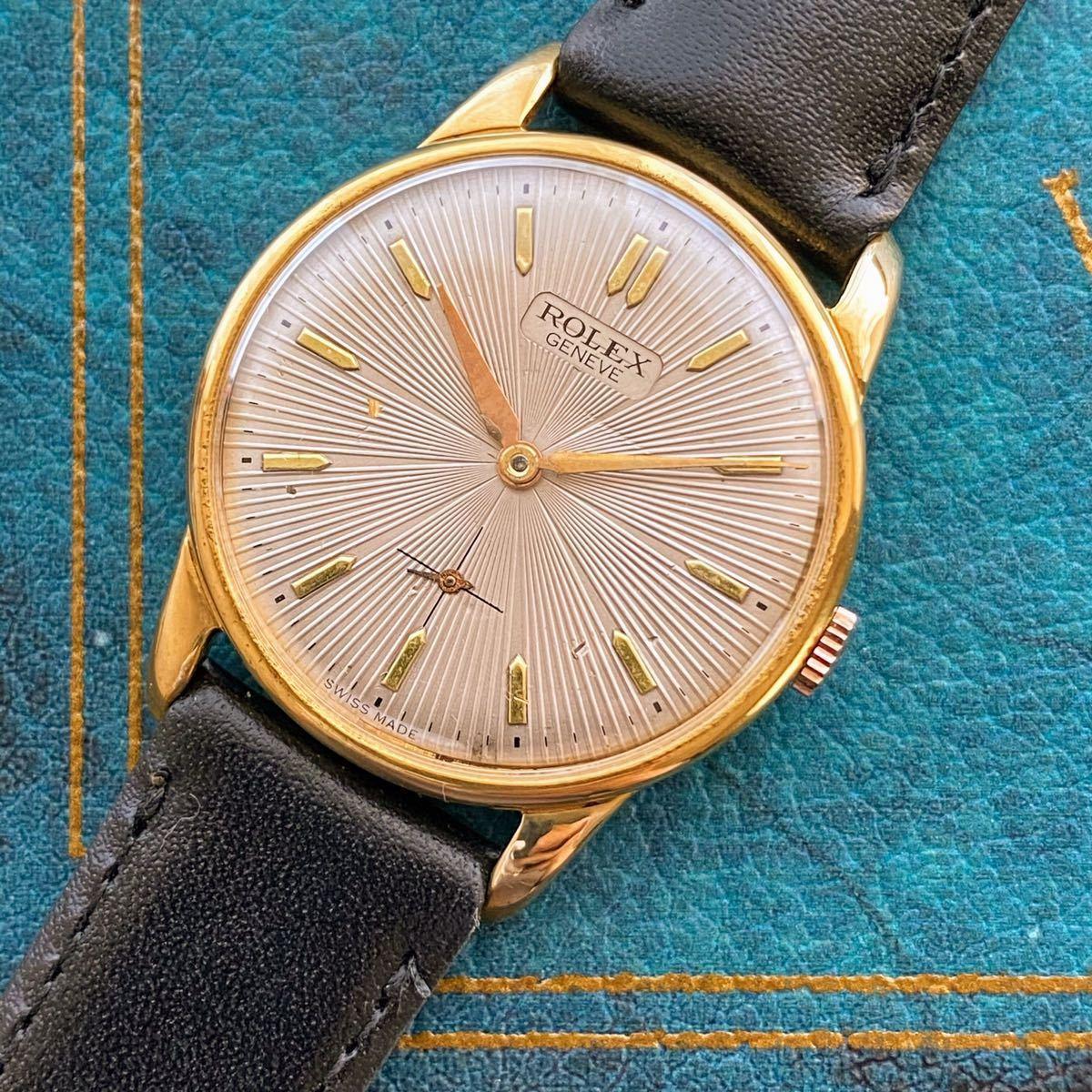 激レア【OH済】ロレックス ■ ROLEX ジュネーブ 14KGP 1950年代 アンティーク 中古 メンズ 手巻き 機械式腕時計 ビンテージ 美品 レア_画像3