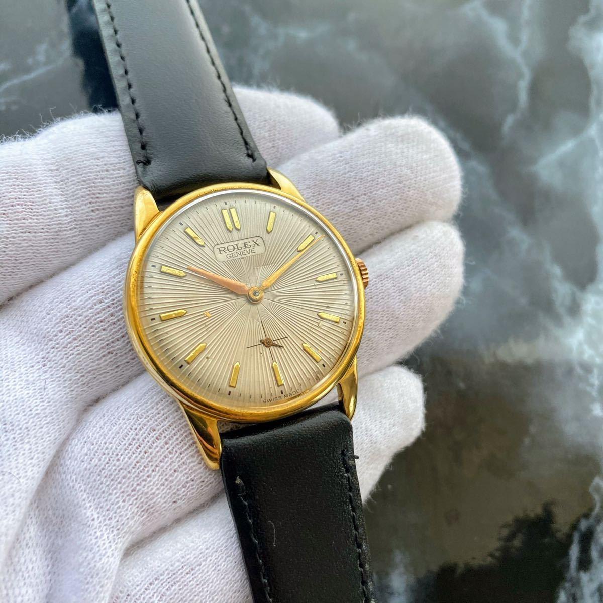 激レア【OH済】ロレックス ■ ROLEX ジュネーブ 14KGP 1950年代 アンティーク 中古 メンズ 手巻き 機械式腕時計 ビンテージ 美品 レア_画像7