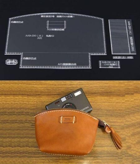 デジカメ入れ 化粧ポーチ 小銭入れ レザークラフト 透明 アクリル型 型紙