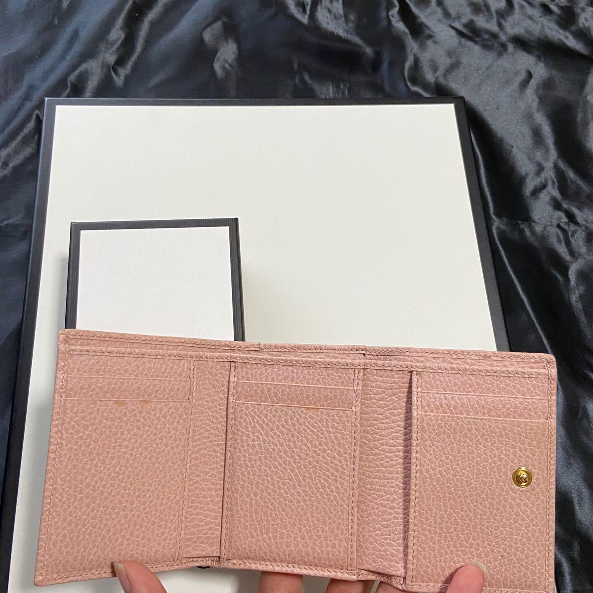 GUCCI グッチ 二つ折り財布 マーモント  コンパクトウォレット ピンク