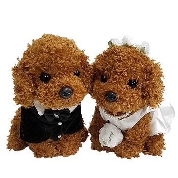 新品★ウエルカムドッグ★プードルペア茶★ぬいぐるみ★ウエディング★結婚祝いや結婚式、2次会に_画像1